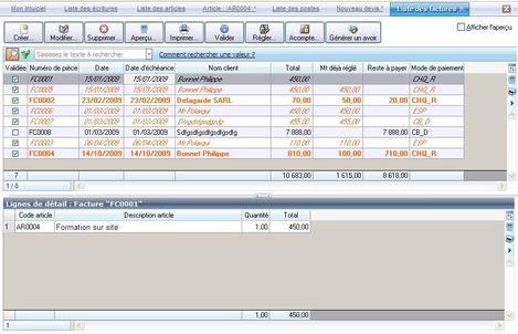 Liste des factures