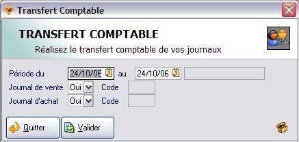 paramétrages du transfert comptable dans ApiSoft Gestion Huit
