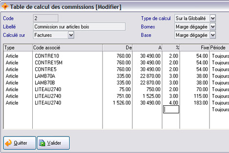 Les différents paramétrages d'une table de calcul de commissions