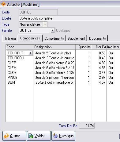 Nomenclature d'un article dans Apisoft gestion commerciale huit
