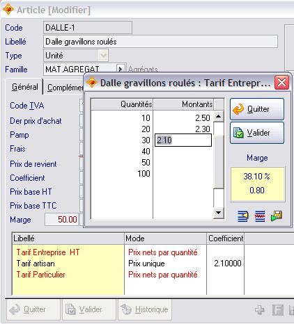 Grille tarifaire par quantité dans Apisoft gestion commerciale huit