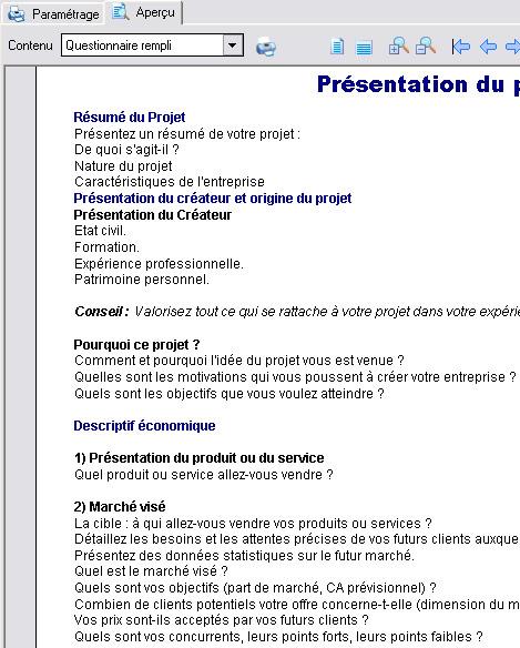 Questionnaire pédagogique de Ciel Business Plan 2007
