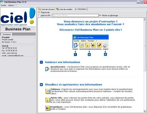 Page d'accueil de Ciel Business Plan