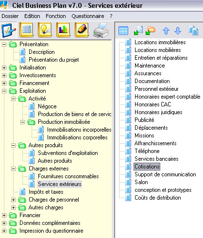 Les charges externes du business plan