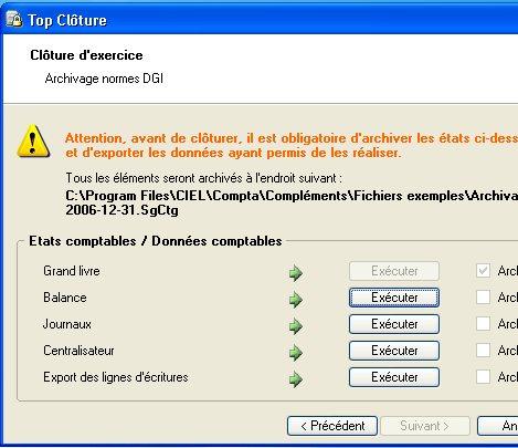 ciel compta évolution 2007: l'archivage aux normes de la D.G.I.