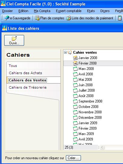 Les cahiers comptables dans Ciel Compta 2008 Facile