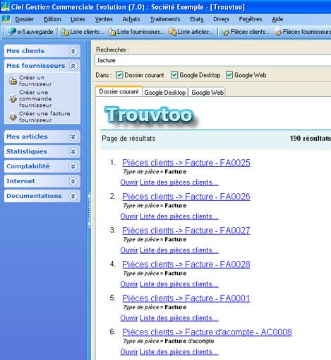 Trouvtoo dans Ciel Gestion Commerciale: recherche dans la base de données du logiciel de Ciel