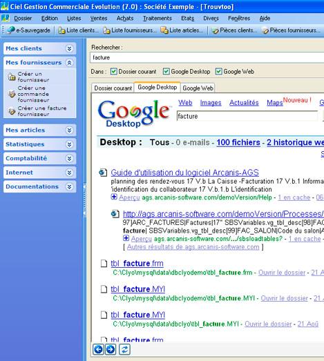 Trouvtoo dans Ciel Gestion Commerciale: recherche sur le disque dur de l'utilisateur avec Google Desktop