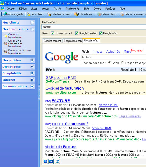 Trouvtoo dans Ciel Gestion Commerciale: recherche sur internet avec Google