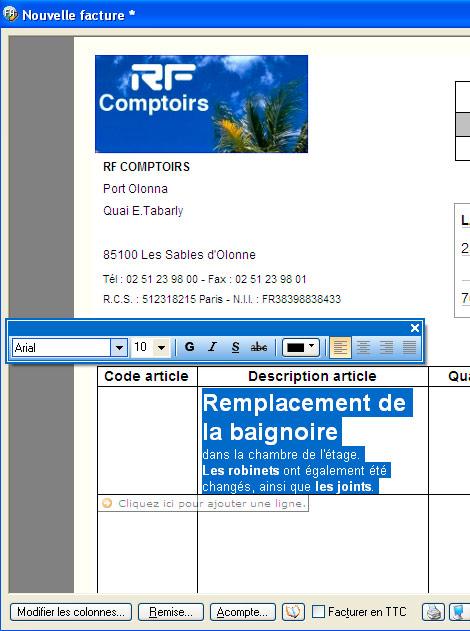 Changement de la police de caractères et de la couleur d'une description d'article dans une facture