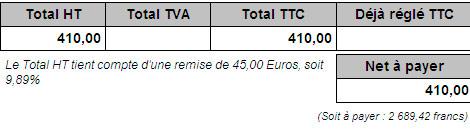 Total avec remise d'une facture créée avec Ciel Facturation Facile 2008
