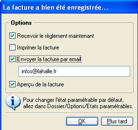 Options après validation d'une facture