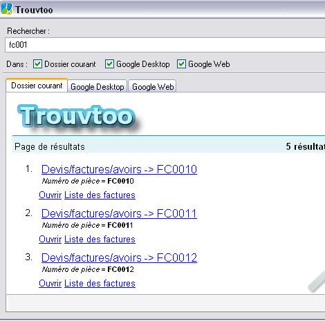 Rechercher des données avec Trouvtoo