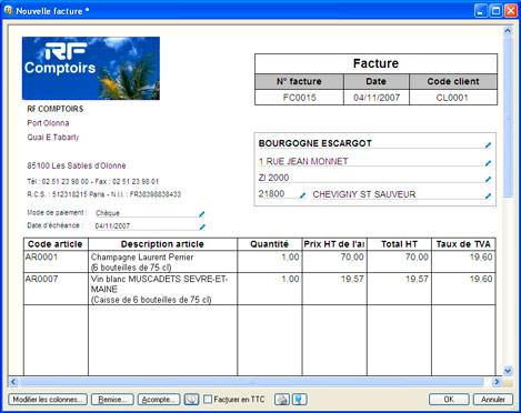 Nouveau modèle de saisie de facture dans Ciel Gestion Commerciale Evolution 2008