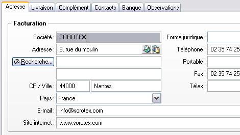 Géolocalisation dans la fiche client