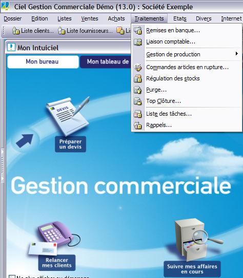 menu traitements dans ciel gestion commerciale évolution 2007
