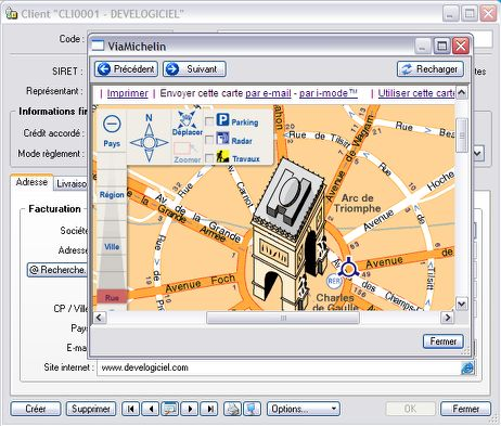 ciel gestion commerciale 2007: géolocalisation du client