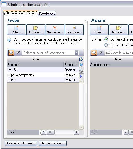 ciel gestion commerciale 2007: contrôle d'accès au dossier