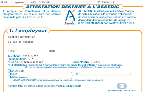 attestation assedic vierge a