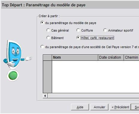 Ciel Paye 2007: choix d'un modèle de paye