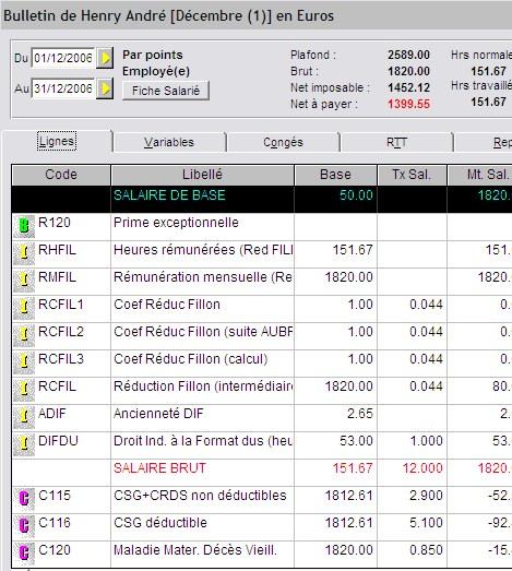 Ciel Paye 2007: Bulletin de paie