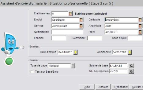 Ciel Paye 2007: assistant d'entrée du salarié