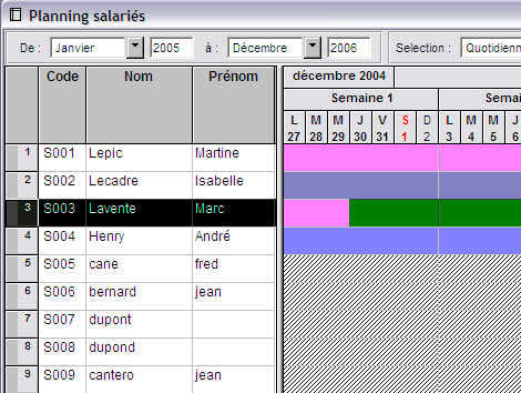 Ciel Paye Evolution 2007: Planning slariés
