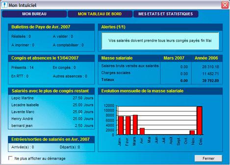 Ciel Paye Evolution 2007: tableau de bord social