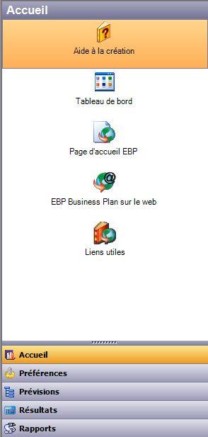 barre de navigation d'EBP Business Plan 2007