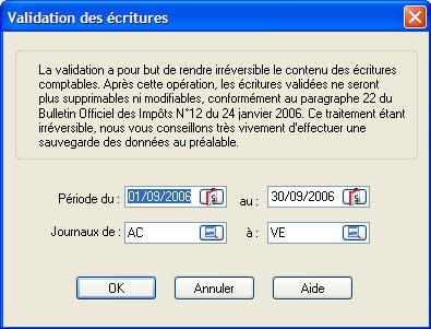 validation des écritures: ebp compta 2007