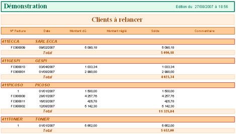 Etat des clients à relancer d'EBP Comptabilité 2008