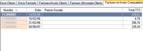 Liste des factures comptabilisées et non comptabilisées d'EBP Comptabilité et Facturation 2007