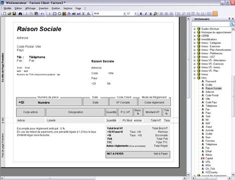 Personnalisation d'un modèle de facture dans EBP Comptabilité et Facturation 2007