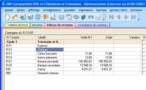 L'éditeur de révision d'EBP Comptabilité PRO v12 Révisions et Prévisions