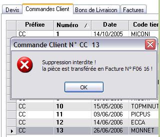 EBP gestion commerciale 2007: suppression de pièce