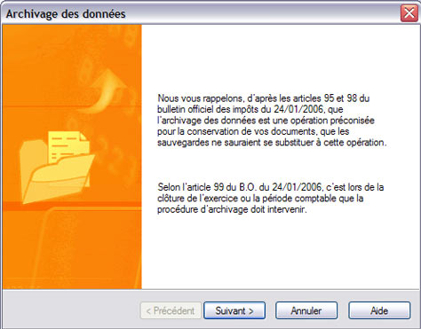 archivage des donnes dans ebp gestion commerciale 2007