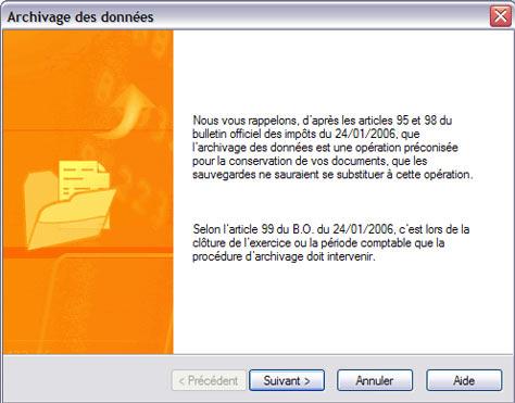 archivage des données dans ebp gestion commerciale 2007