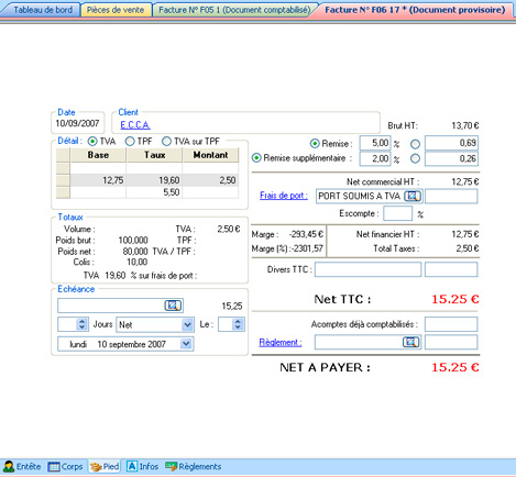 Facture provisoire dans EBP Gestion Commerciale 2008