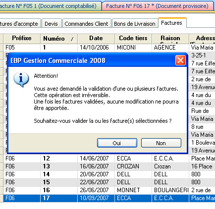 Validation d'une facture avec EBP Gestion Commerciale 2008