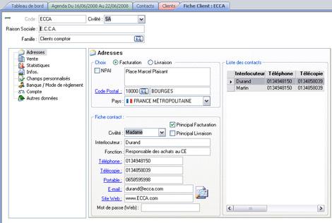 Liste des contacts dans EBP Gestion Commerciale *