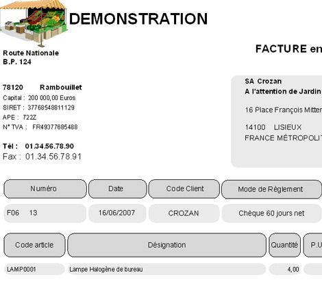 Contact de facturation indiqué dans une facture dans EBP Gestion Commerciale *