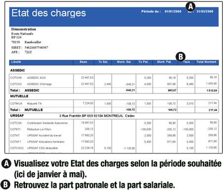 état des charges d'EBP Paye 2007