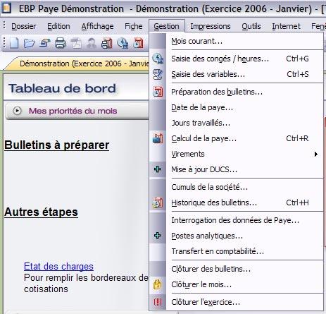 ebp paye 2007: le menu