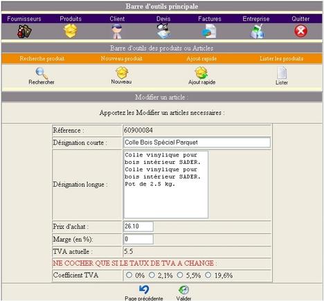logiciel de facturation factoweb: une fiche article