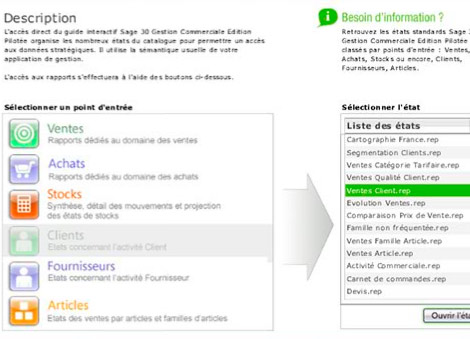 Tableau de bord par modules