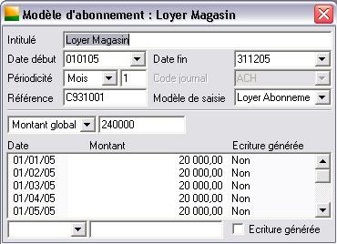 Un modèle d'abonnement dans Sage comptabilité 30