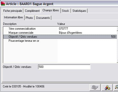 informations libres dans sage gestion commerciale 30 v12