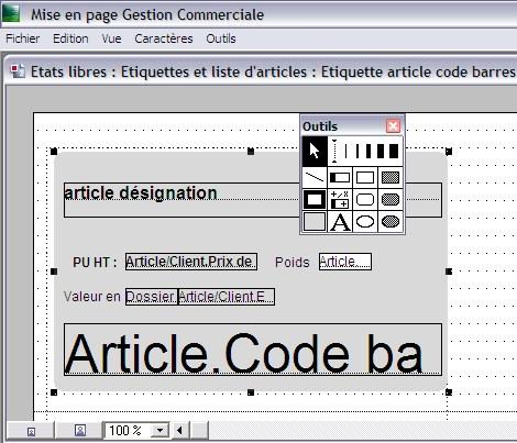 Outil de mise en page de Sage gestion commerciale 30 v12