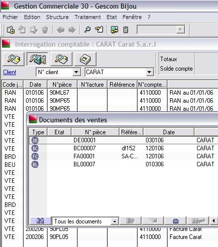 interrogation comptable client de Sage gestion commerciale 30 v12