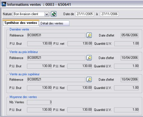 wavesoft gestion : historique des conditions de vente d'un article